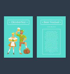oktoberfest set of posters with man and woman vector image vector image