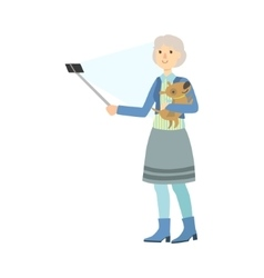 Old lady with dog taking picture with selfie stick vector