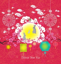 Oriental chinese new year lantern and rabbit vector