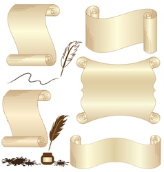 Parchment set with feather isolated vector image vector image