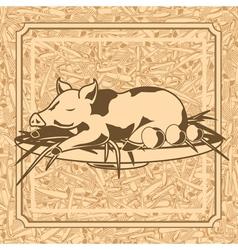 Roast suckling pig vector