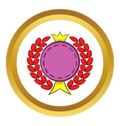Round badge with crown and laurel icon vector