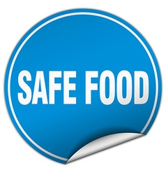 safe food round blue sticker isolated on white vector image vector image