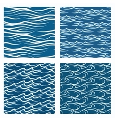 seamless blue waves pattern set vector image vector image