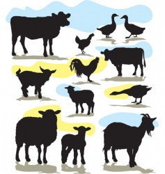 set farm animals vector image vector image