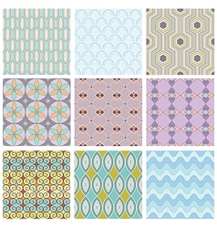 Set of geometric seamless pattern vector image vector image