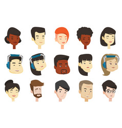 Set of multicultural women and men vector
