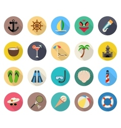Summer beach vacation icons vector