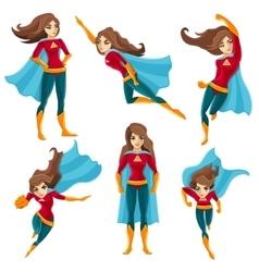 Superwoman actions icon set vector