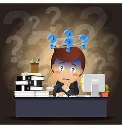 Thinking businessman working on computer vector image vector image