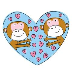 valentine monkeys vector image