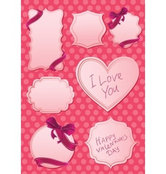 valentines labels on pink background vector image