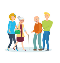 young people with their relatives walk help them vector image