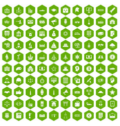 100 government icons hexagon green vector