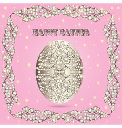 Card with easter eggs and precious stones vector