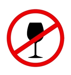 Sign stop alcohol with wine glass vector