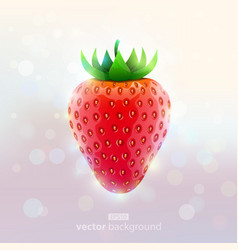 realistic strawberry on absract light background vector image