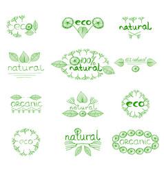 Organic eco natural badge vector