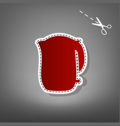 electric kettle sign  red icon with for vector image