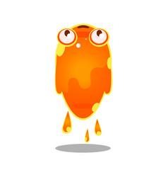 funny cartoon orange sluggish blob monster cute vector image