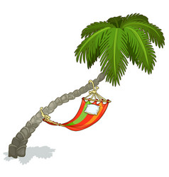 Hammock on a palm tree isolated vector