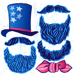 Ink hand drawn set of hat beards and mustaches vector