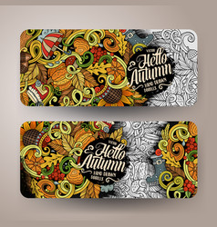 cartoon hand drawn doodles autumn banners vector image