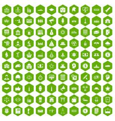 100 government icons hexagon green vector