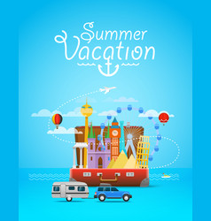 Summer vacation vacation travelling composition vector