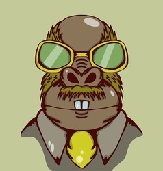 Weird walrus with yellow glasses and vector
