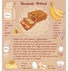 Sliced banana bread Recipe vector image