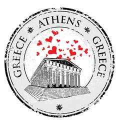 Love heart stamp with the parthenon shape from gre vector