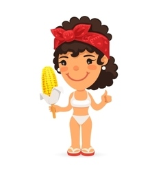 Woman in swimwear with boiled corn vector