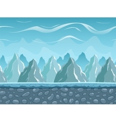 Seamless cartoon landscape with mountains vector