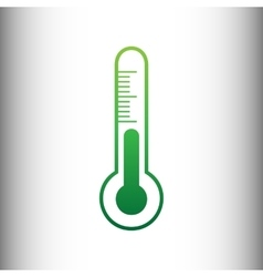 Thermometer sign green gradient icon vector