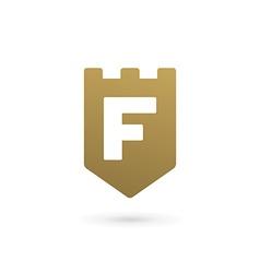 Letter f shield logo icon design template elements vector