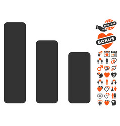 Bar chart decrease icon with lovely bonus vector