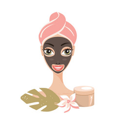 Beautiful happy woman with face mask spa skin care vector