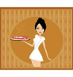 Beautiful woman waitress enjoys pizza vector