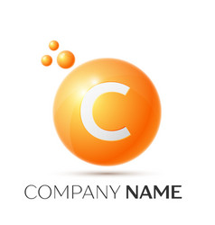 C letter splash orange dots and circle bubble vector