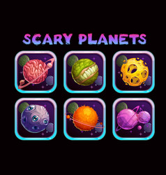 Cartoon scary planet app icons set vector