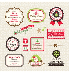 Christmas Collection of labels and frames design e vector image vector image