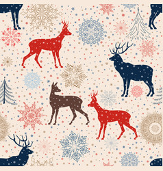 Christmas snow deer background winter holiday vector