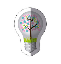 color sticker silhouette with bulb light and vector image