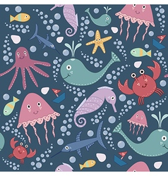 Cute underwater seamless pattern vector