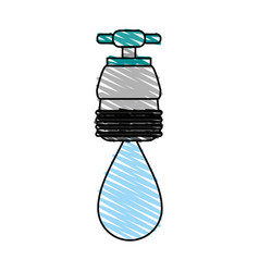 Faucet with water drop frontview icon image vector