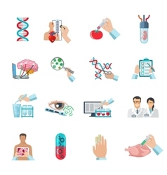 Flat color biotechnology icons set vector