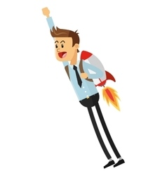 Flying businessman with jetpack icon vector