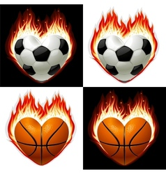 football basketball ball on fire vector image