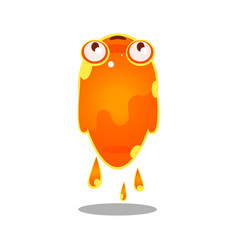 funny cartoon orange sluggish blob monster cute vector image vector image